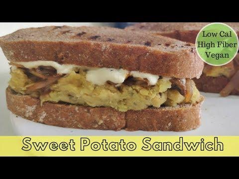 Healthy Sweet Potato Sandwich | Low Calorie High Fiber Vegan Sandwich For Weight Loss