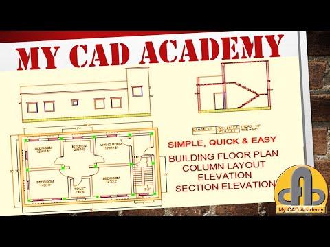 House Plan Design Elevation Section Elevation Autocad2020 Floor Plan Elevation Section Elevation Youtube