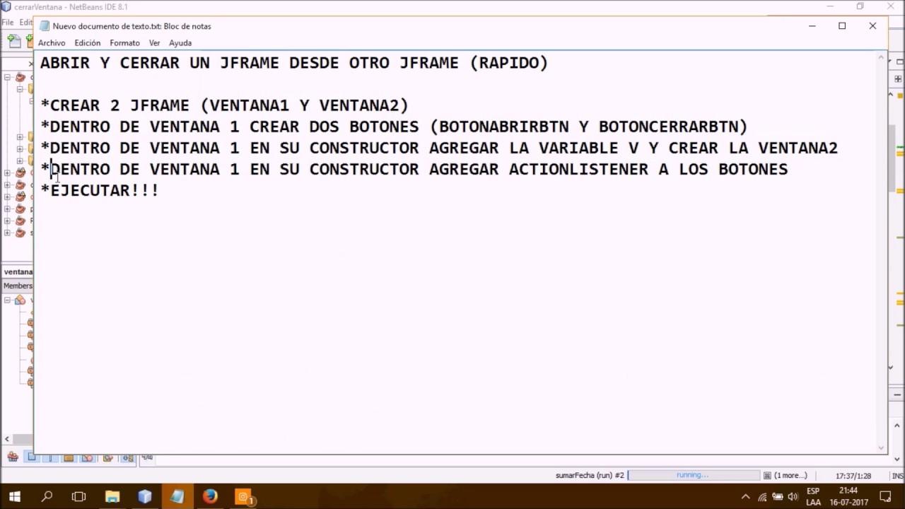 Abrir y Cerrar JFrame desde otro JFrame Java - YouTube