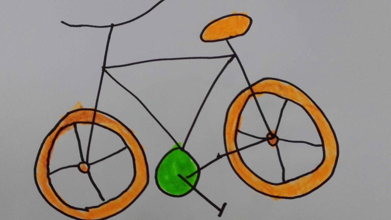 How To Draw Bicycle Draw A Bike With A Person Riding It Draw A Motor Bike