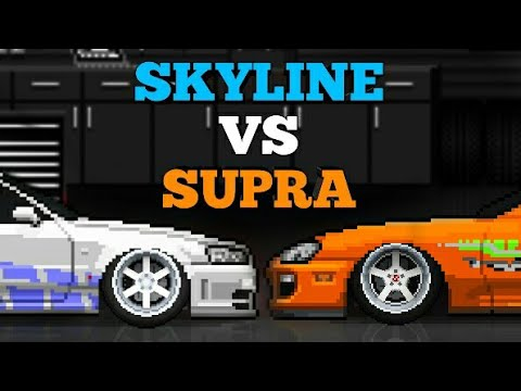 Nissan Skyline R34 vs Toyota Supra - Pixel Car Racer - YouTube