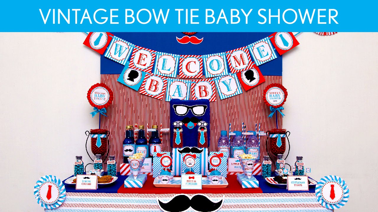 Vintage Bow Tie Baby Shower Party Ideas // Vintage Bow Tie   S30   YouTube