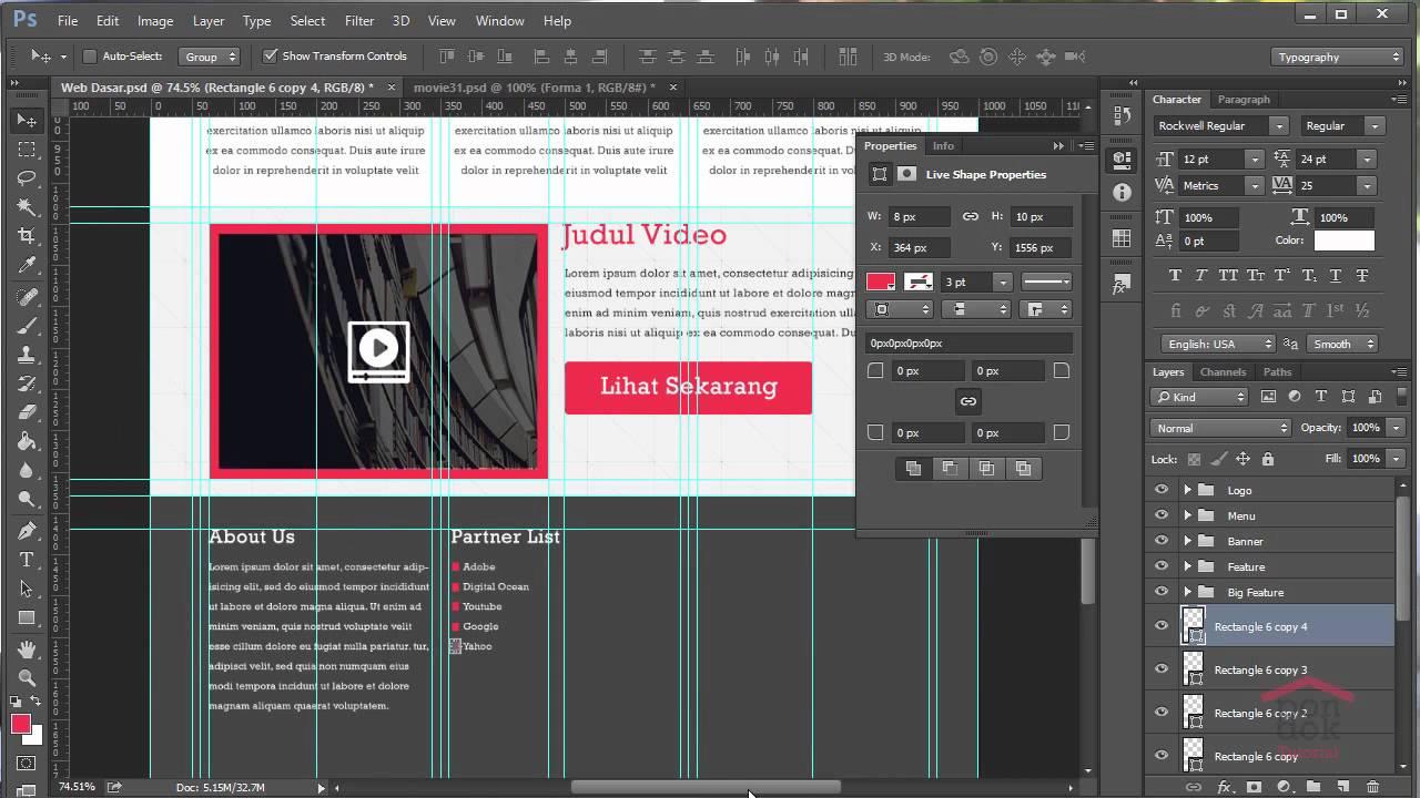 Cara Membuat Desain Web Di Photoshop Part 8 : Pembuatan ...
