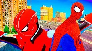 Racing on wheelbarrows! Cartoons for Kids! Spider Man Spider Man rides on the car Makvin!