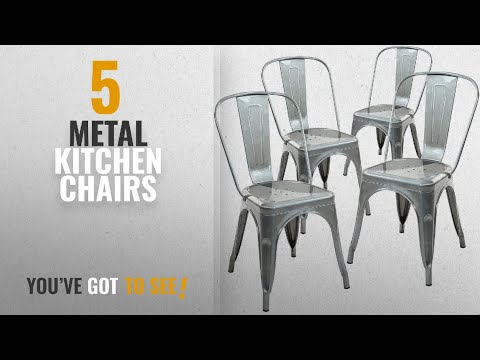 Top 10 Metal Kitchen Chairs [2018]: Poly and Bark Trattoria Side Chair in Polished Gunmetal (Set of