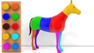 Colors for Babies Kid With 3D Wooden Horse Painting | Learning Educational Cartoon Animated Rhymes