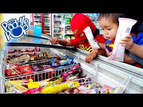 Superhero In Action Hunting Ice Cream In Indomaret Ice Cream Paddle Pop Fruity Bubble
