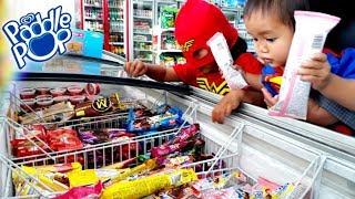 Superhero Beraksi Berburu Es Krim Di Indomaret Es Krim Paddle Pop Fruity Bubble Youtube