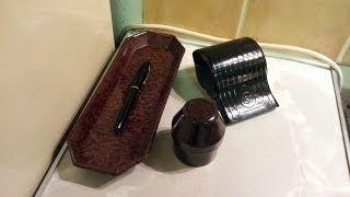 Vintage Bakelite Sheaffer lever-fill fountan pen, pen holder, blotter and ink pot