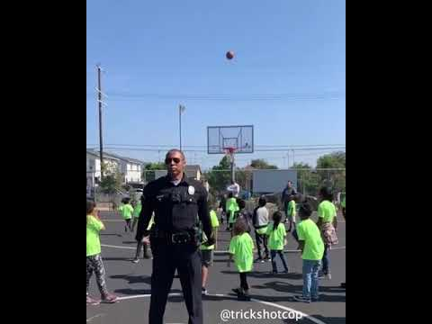 The Randy, Jamie and Jojo Show  - Cop Shoots Basketball Into Hoop Backwards In Front of Kids