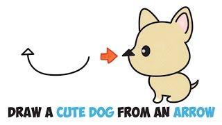 Wie zeichnet man einen cartoon-Hund, der einfach Schritt für Schritt zeichnen für Kinder (cute kawaii) von Pfeil