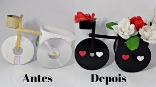 Reciclagem: Bicicleta Feita De Pode De Margarina E Cd Lembrancinha Decorativa