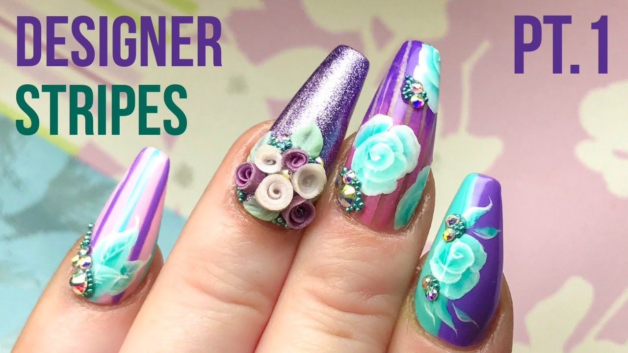 Striped Effect Designer Nails With One Stroke Flowers Part 1 Youtube