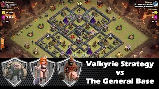 Valkyrie Strategy vs The General Base | GoVaHo Attack | Clan Wars | Clash Of Clans HD