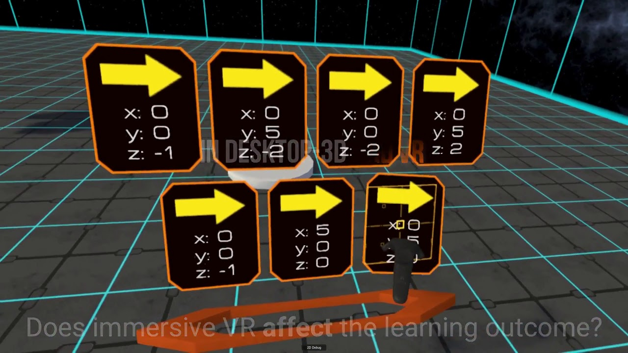 Usability of Gamified Knowledge Learning in VR and Desktop-3D