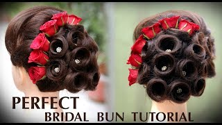 Perfect Bridal Bun | Bridal Juda Kaise Banaye | Ladies Hair Style Tutorials 2018 | Fancy Judha kaise