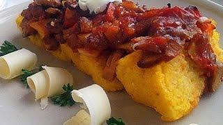 Полента с грибным рагу и овощами  Итальянская кухня