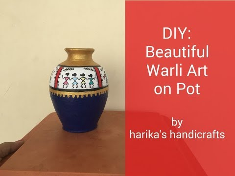 DIY: How To Paint Warli Art On Pot   Beautiful Pot Painting Idea   Easy Pot Painting Idea