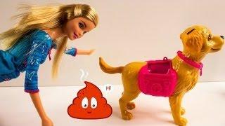Барби. Видео с куклами для девочек. Игрушка какающая собака.  Barbie.