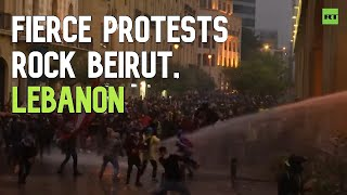 Security forces use water cannons against anti-corruption protests in Beirut