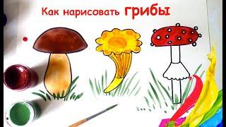 КАК НАРИСОВАТЬ ГРИБ /БОРОВИК, ЛИСИЧКА, МУХОМОР