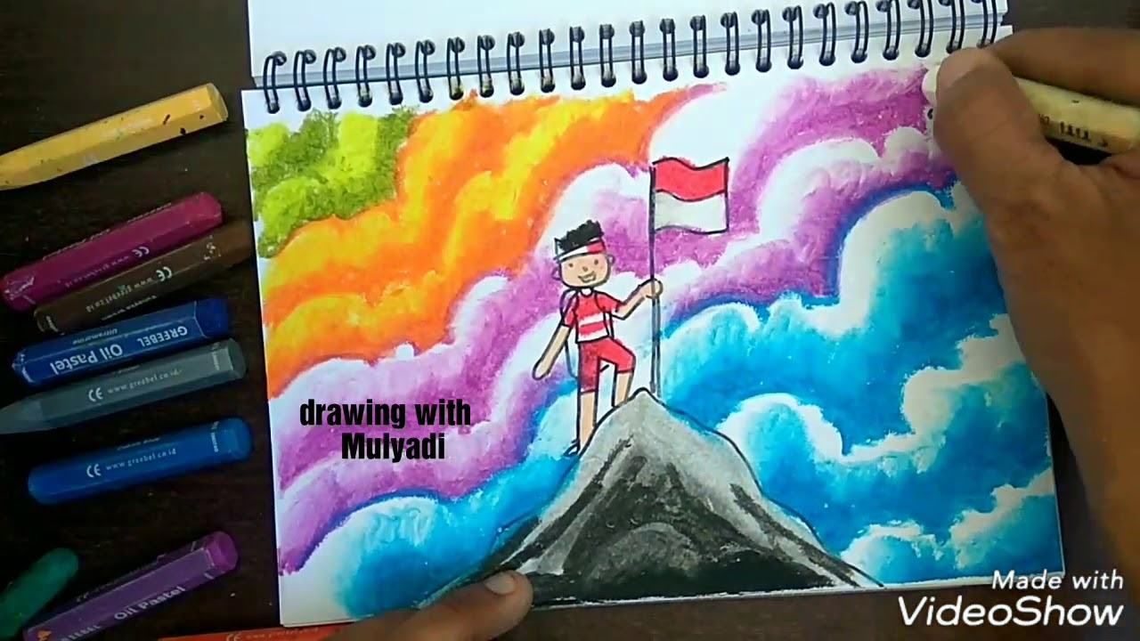 Menggambar Dan Mewarnai Dengan Oil Pastel Tema Kemerdekaan