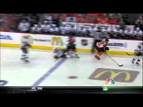 Claude Giroux hit on Sidney Crosby. Pittsburgh Penguins vs Philadelphia Flyers 4/22/12 NHL Hockey