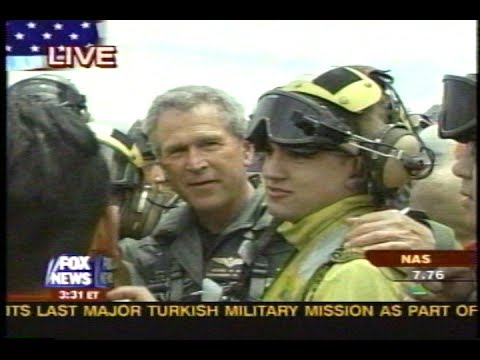 News - President Bush Carrier Landing - Mixed - 2 May 2003