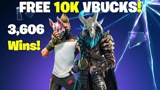 FREE 10K VBUCKS GIVEAWAY! 3,606 SOLO WINS FORTNITE LIVESTREAM