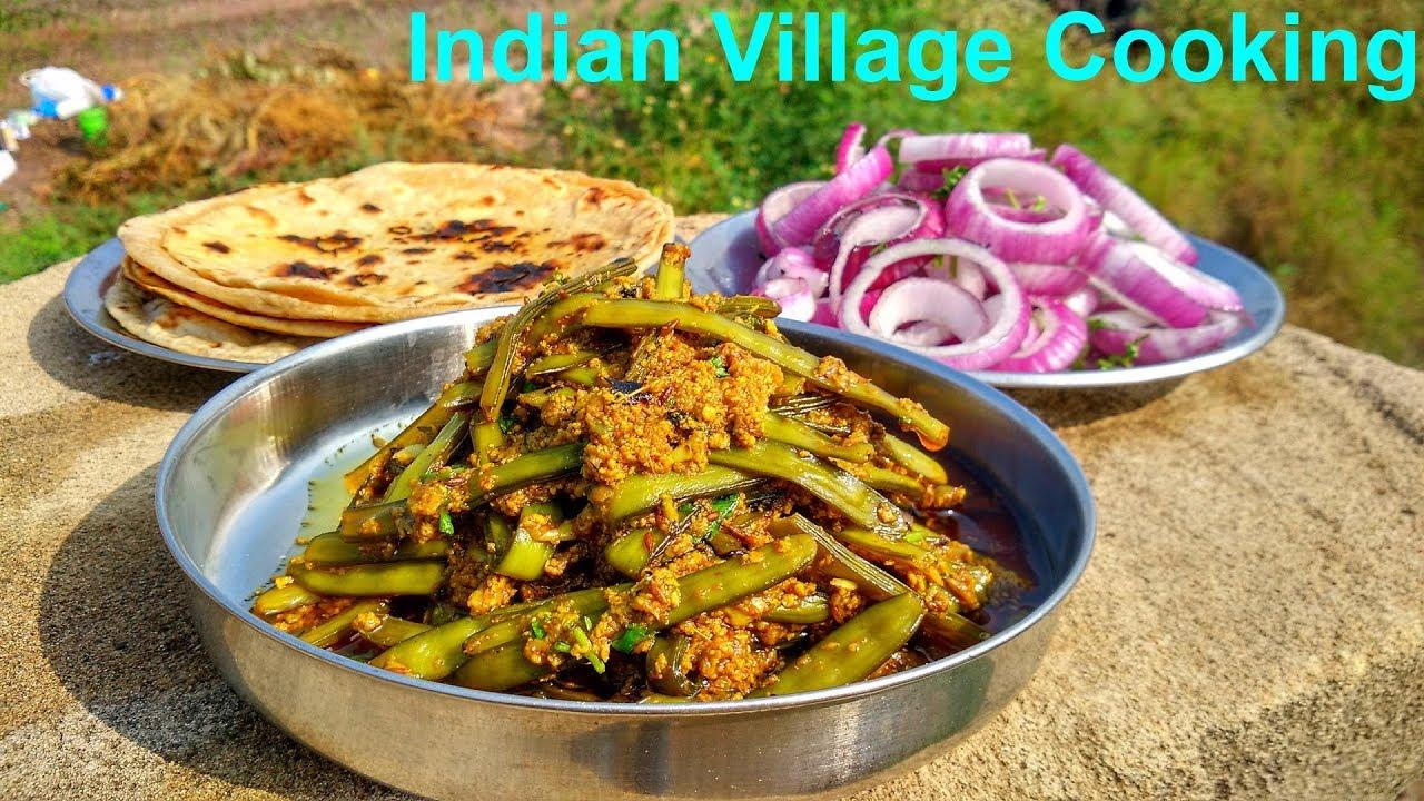 Subji, Roti And Salad Making  Indian Village Cooking -5251