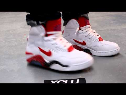 Nike Air Force 180 Mid White Red On feet at Exclucity