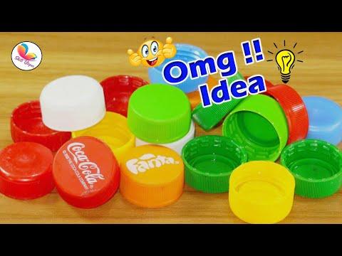 waste plastic bottle caps craft idea   best out of waste keyring    bottle caps reuse idea