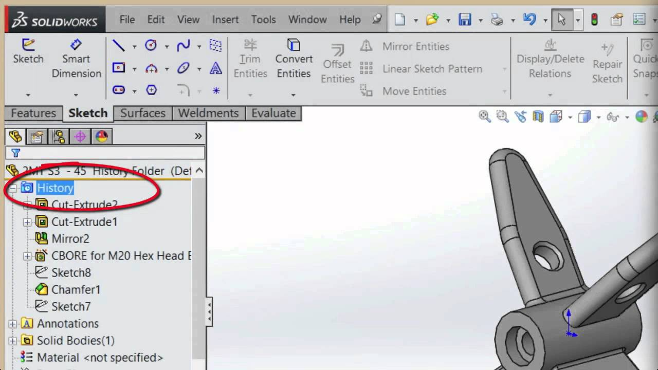 SolidWorks History Folder Enhancements