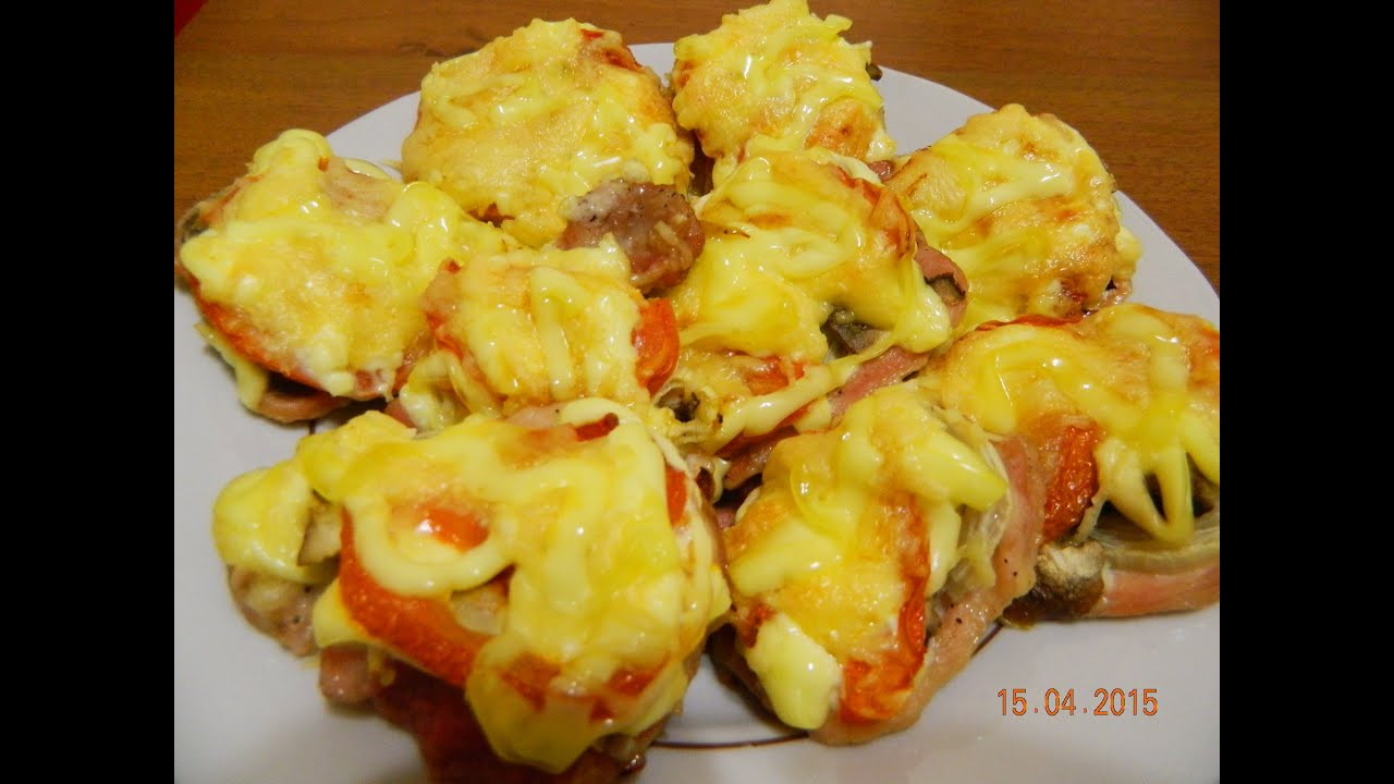 свиные отбивные в духовке с помидорами грибами и сыром