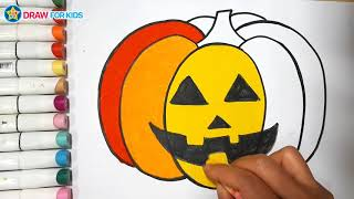 How To Draw And Color A Pumpkin    Draw For Kids