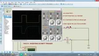 Proteus - IC 74HC14 - SCHMITT TRIGGER - Debounce RC Circuit