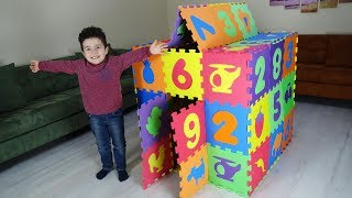 Renkli Karolardan Ev Yaptık | Yusuf Building House with Colored Puzzle Mats