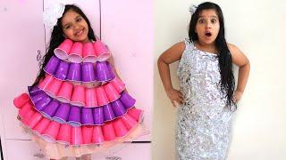شفا صنعت فساتبن جديدة للحفلة - أفكار DIY رائعة ❤️ A new Dress for Birthday - Cool DIY Ideas