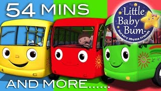Repeat youtube video Wheels On The Bus | Plus Lots More Nursery Rhymes | 54 Minutes Compilation from LittleBabyBum!