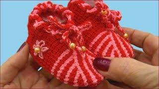 Пинетки тунисским крючком. Пинетки крючком для начинающих. Вязание пинеток. (crochet booties)