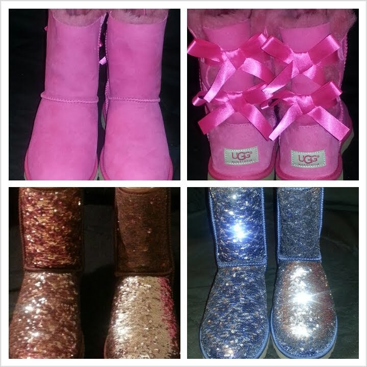 pink sparkle uggs with bows