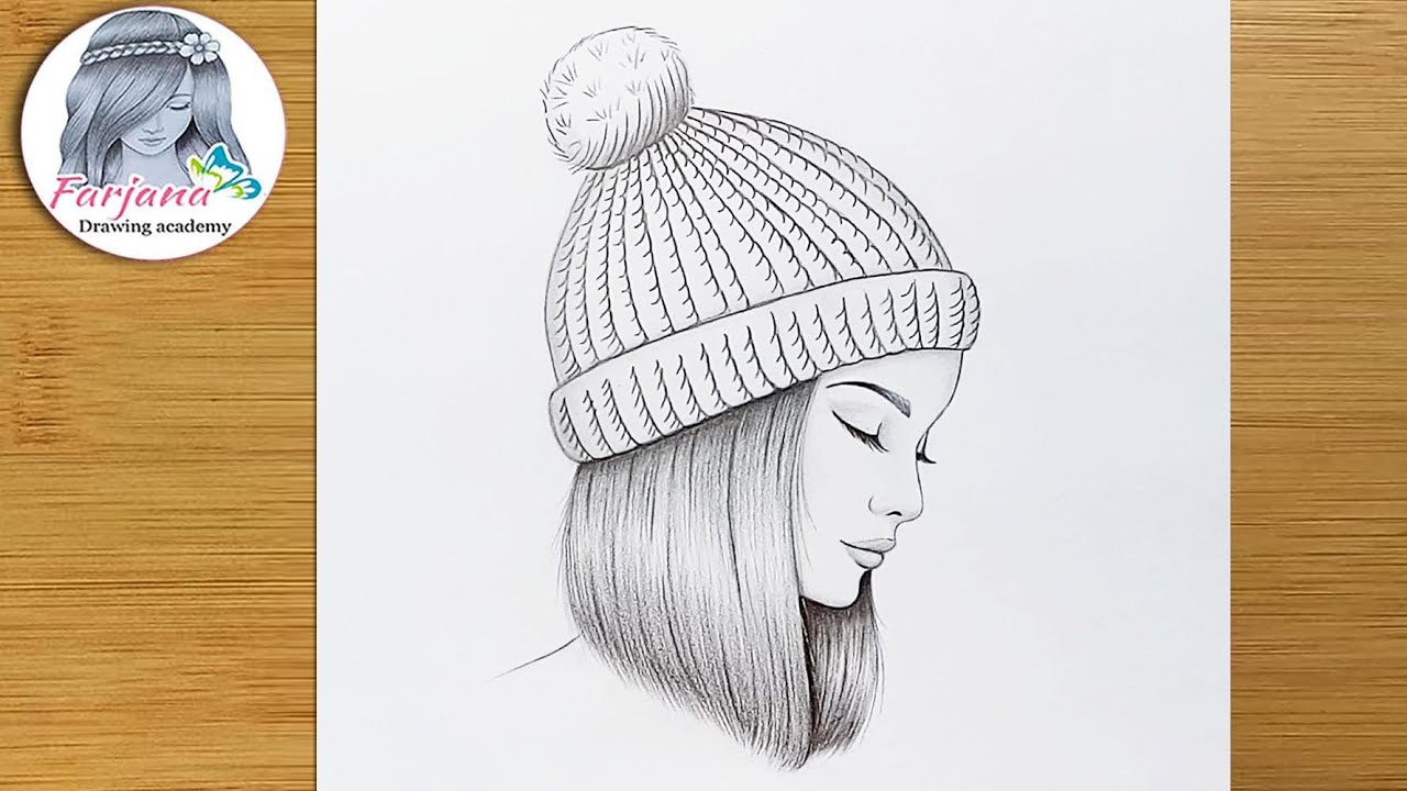 A girl wearing a winter hat - Pencil sketch tutorial with just one pencil || How to draw a girl
