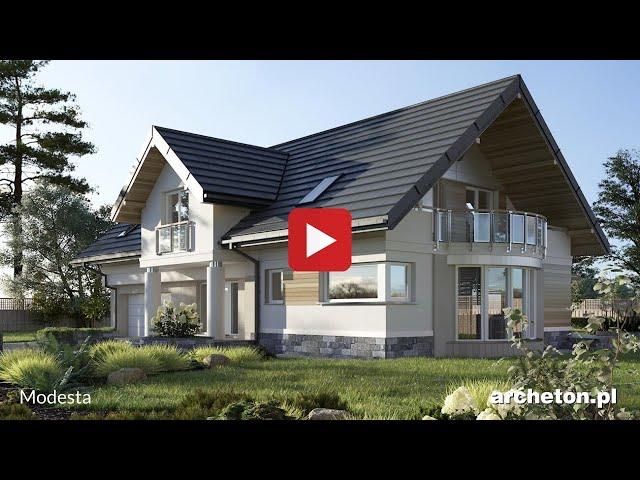 Projekt domu Modesta - archeton.pl - z użytkowym poddaszem 246,5 m2