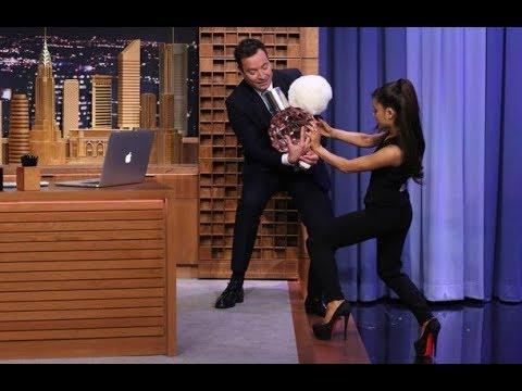 Ariana Grande and Jimmy Fallon spray A LOT OF perfume