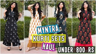 Myntra Kurti Sets Haul(6 Sets)| Under ₹800 | Casual & Party-wear Kurti Sets