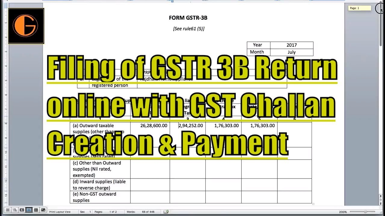 Filing of gstr 3b return online with gst challan creation for Table 6 of gstr 3b