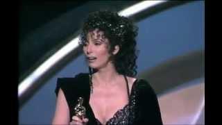 Cher winning the oscar for her film moonstruck in 1988
