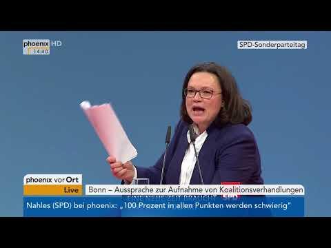 SPD-Bundesparteitag: Rede von Andrea Nahles vom 21.01.2018
