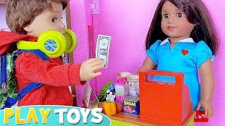 Baby dolls plays grocery shopping and supermarket toys!  🎀
