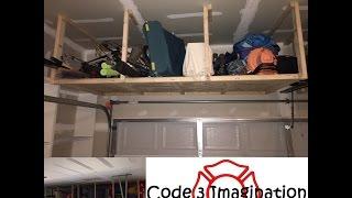 Over the Garage Door Wood Storage Shelves